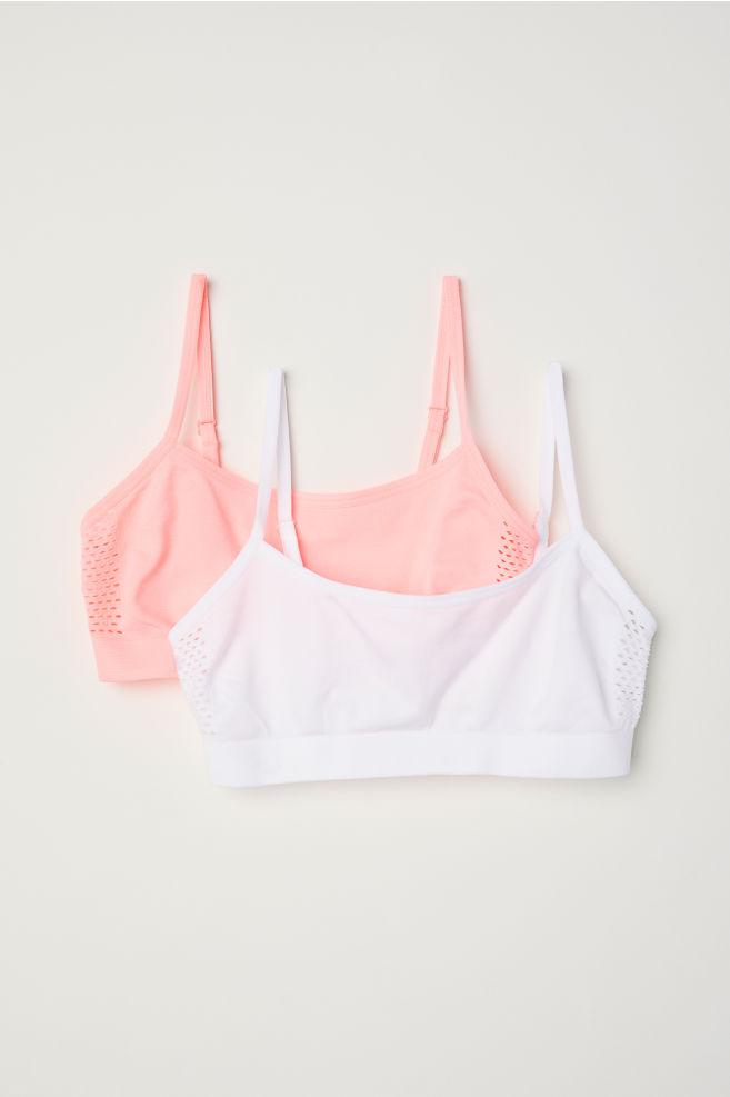 34e713a33bb47 2-pack jersey crop tops - Light neon pink - Kids