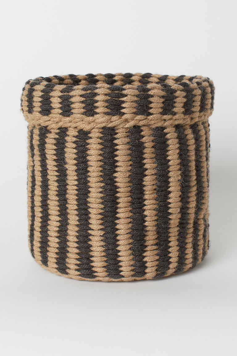 Handmade jute basket - Dark beige/Striped - Home All | H&M CN
