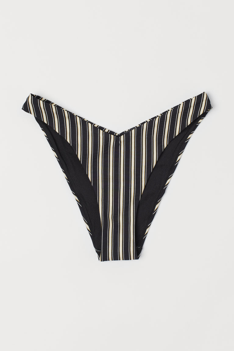 V-shaped bikini bottoms - Black/White striped - Ladies | H&M