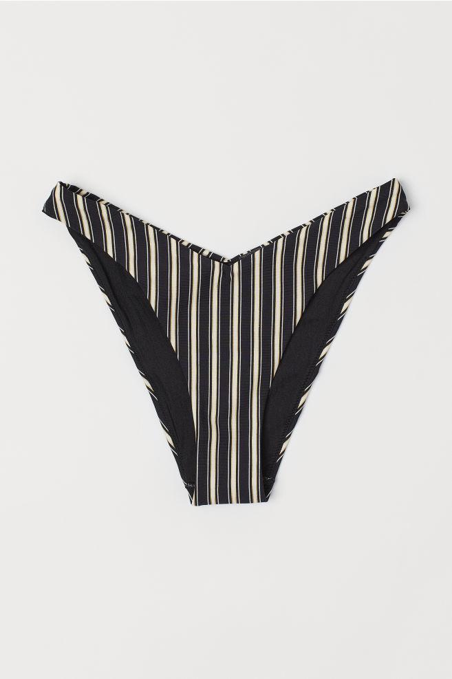7712baf48 ... V-shaped bikini bottoms - Black White striped - Ladies