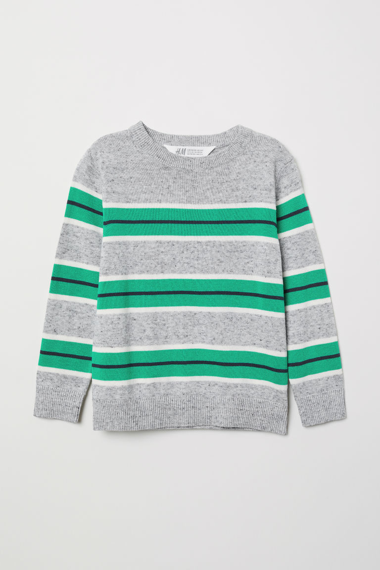 Fine-knit jumper - Grey/Green striped - Kids | H&M