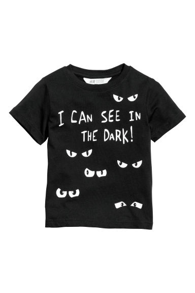 T-shirt avec impression - Noir/See in the dark -  | H&M BE