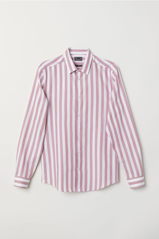 Katoenen Overhemd Heren.Katoenen Overhemd Slim Fit Roze Wit Gestreept Heren H M Nl