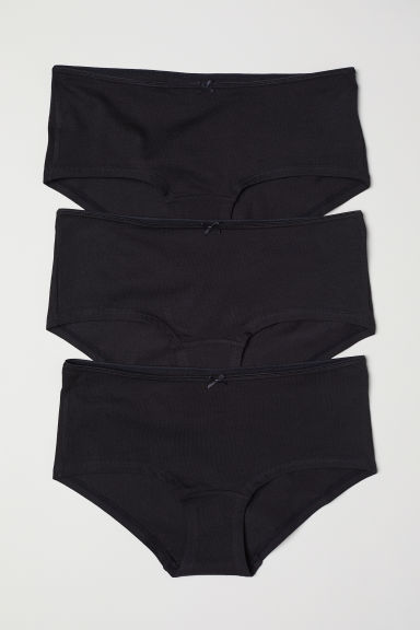 3-pack cotton shortie briefs - Black - Ladies | H&M IE