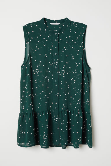 Buttoned chiffon blouse - Dark green/Spotted - Ladies | H&M