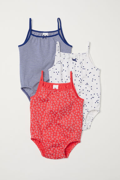 3-pack jersey bodysuits - Red/Patterned - Kids | H&M CN