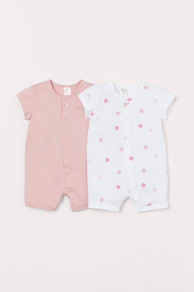 2-pack all-in-one pyjamas - Light pink/Spotted - Kids | H&M