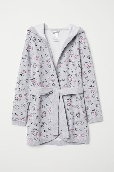 Dressing gown - Grey marl/Patterned - Kids | H&M