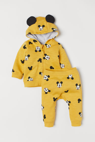 Hooded jacket and trousers - Yellow marl/Mickey Mouse - Kids | H&M IE
