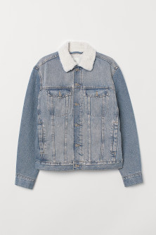 Pile-lined denim jacket