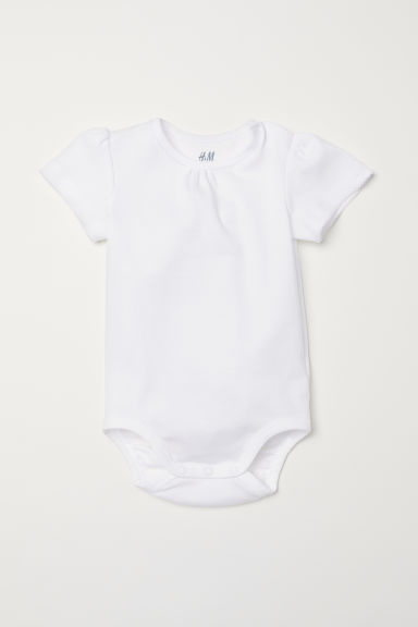 Puff-sleeved bodysuit - White - Kids | H&M CN