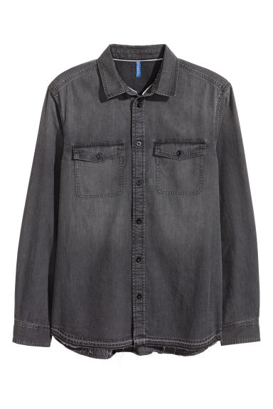 Denim shirt - Black/Washed - Men | H&M
