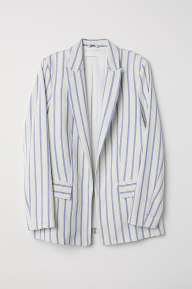 Linen-blend jacket - Natural white/Blue striped - Ladies | H&M