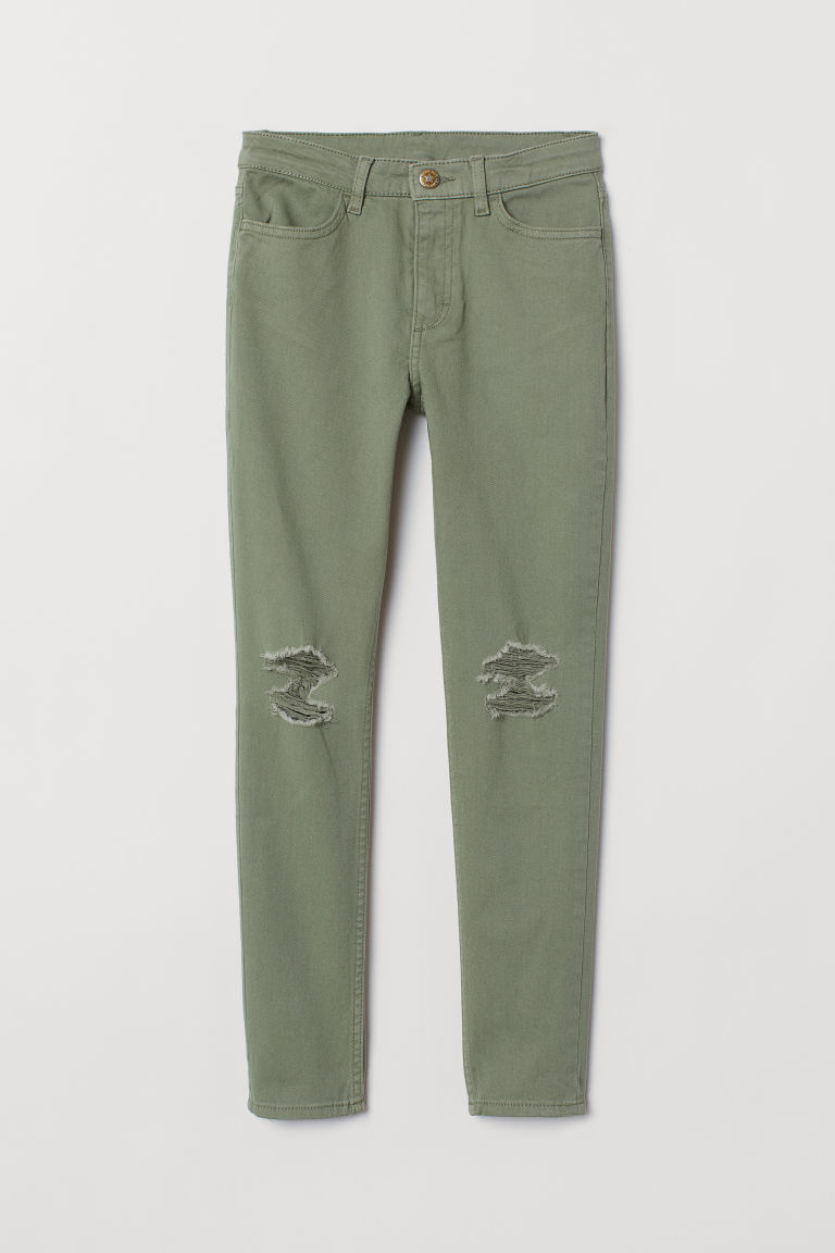 Twill trousers - Khaki green - Kids | H&M CN