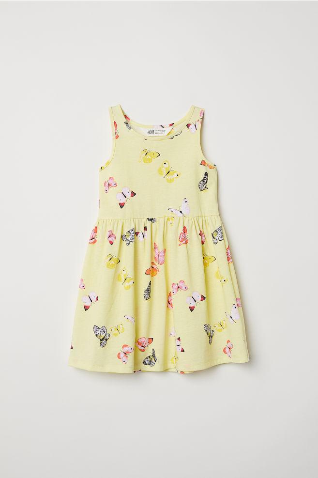 885b77b01 Sleeveless jersey dress - Yellow/Butterflies - Kids   H&M ...