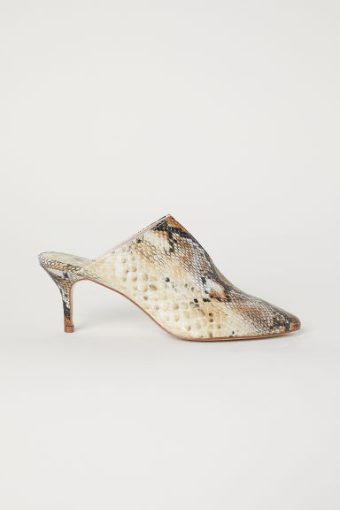 Snakeskin-patterned mules - Beige/Snakeskin-patterned - Ladies | H&M IN