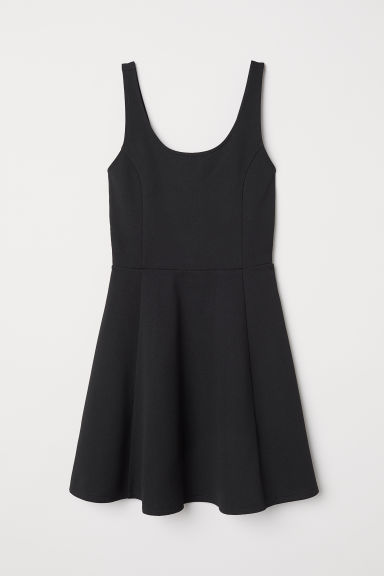 Sleeveless jersey dress - Black/Textured stripe -  | H&M CN