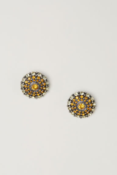 Round sparkly earrings - Yellow -  | H&M CN