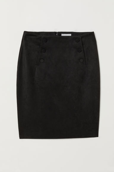 Knee-length skirt - Black/Imitation suede - Ladies | H&M