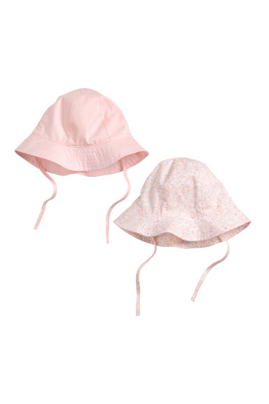2-pack sun hats - Light pink/Floral - Kids | H&M CN