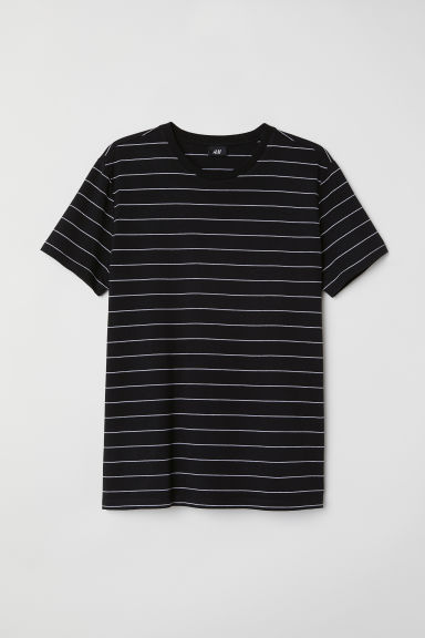 T-shirt - Muscle fit - Zwart/gestreept -  | H&M BE