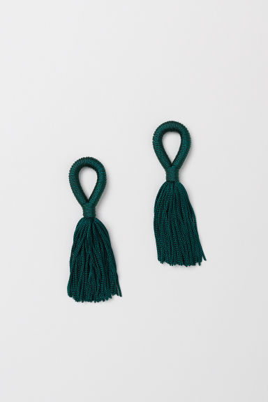 Tasselled earrings - Dark green - Ladies | H&M