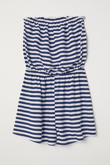Strapless playsuit - Blue/White striped -  | H&M