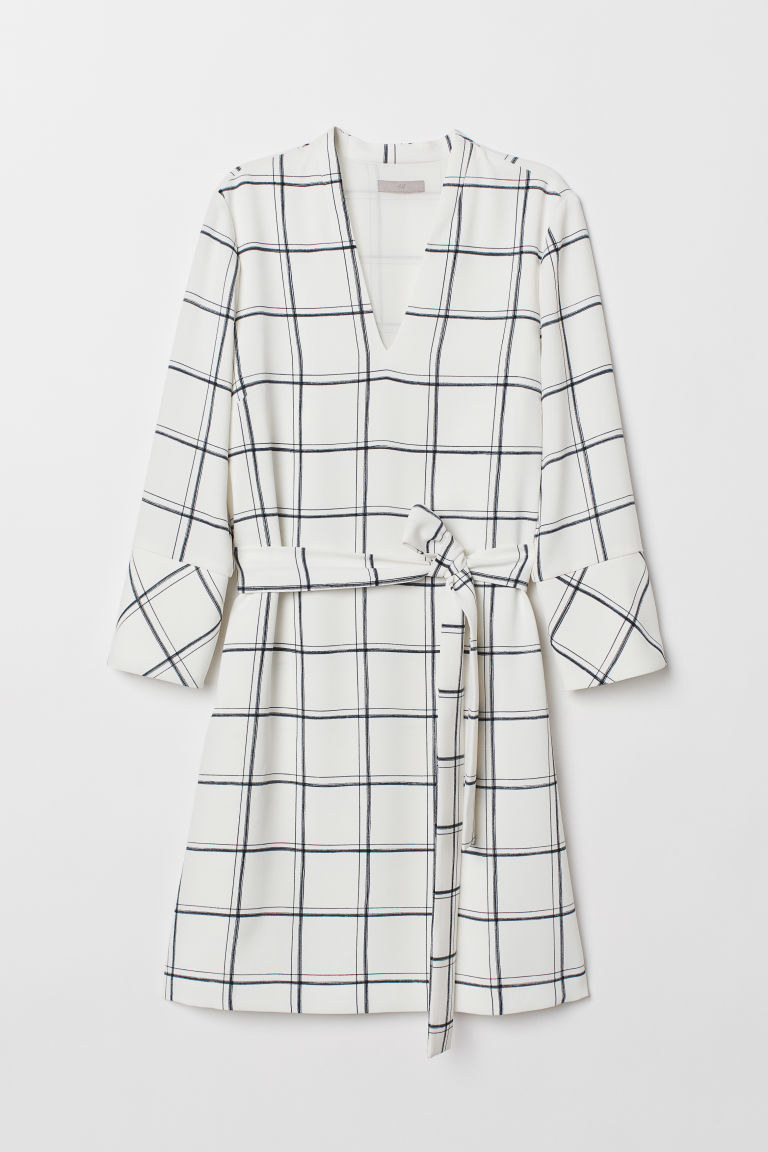 V-neck dress - White/Checked - Ladies | H&M CN