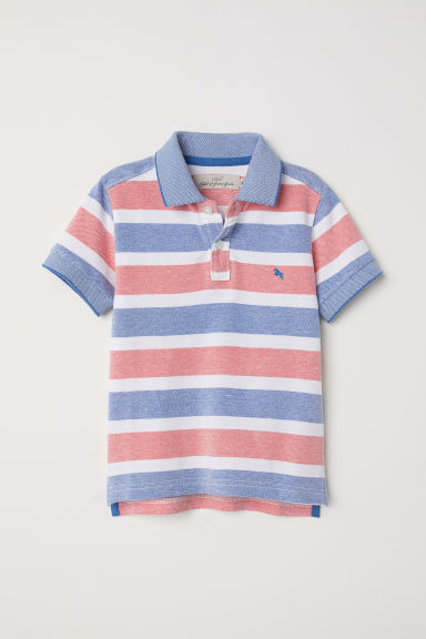 Polo shirt - Blue/Red striped -  | H&M