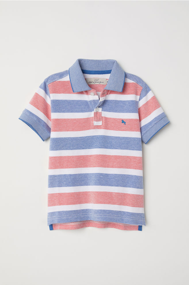 5d25b858 Polo shirt - Blue/Red striped - Kids | H&M ...