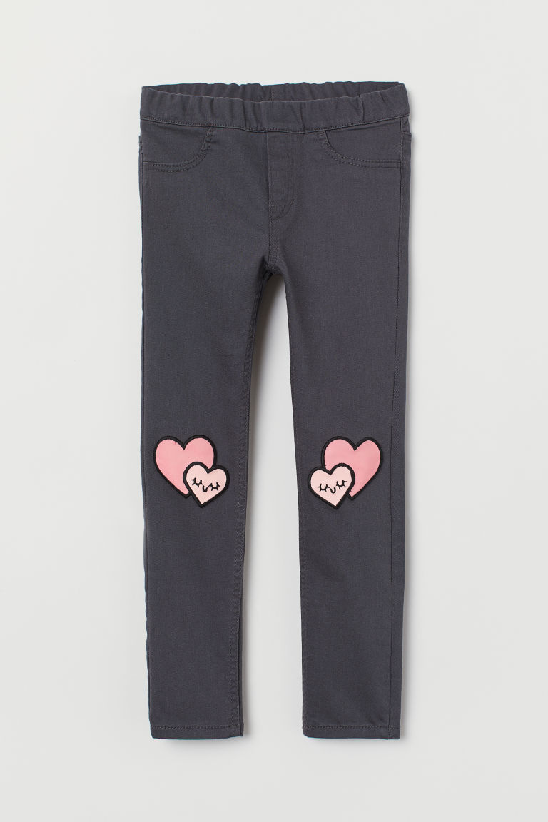 Treggings with appliqués - Dark grey/Hearts - Kids | H&M CN