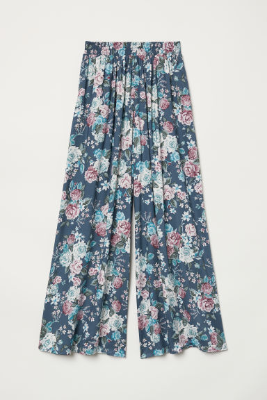 Wide trousers - Pigeon blue/Floral - Ladies | H&M