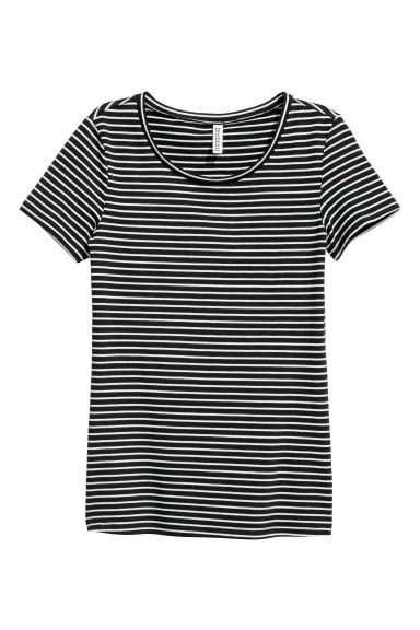 Jersey top - Black/White/Striped -  | H&M