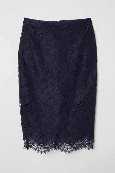 Lace pencil skirt - Dark blue - Ladies | H&M
