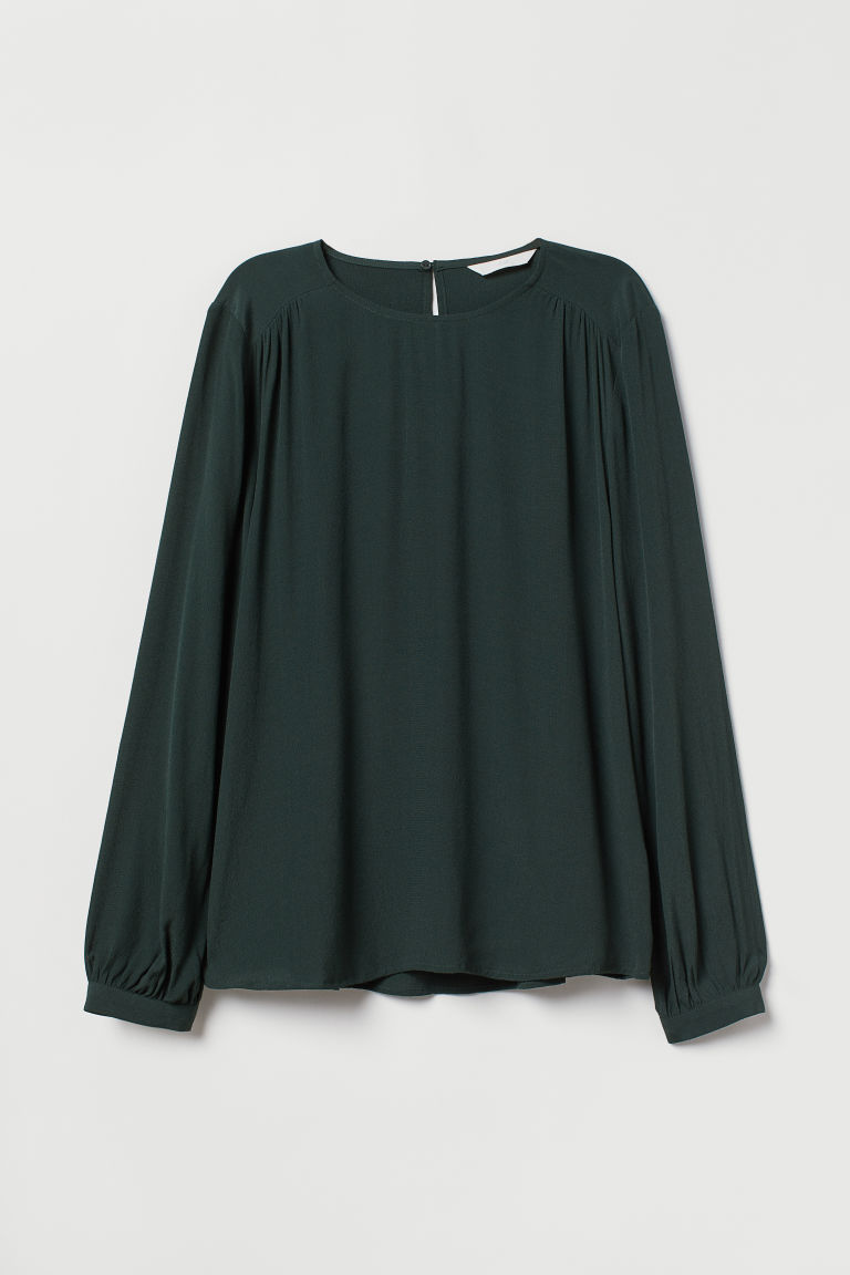Crêpe blouse - Dark green - Ladies | H&M CN