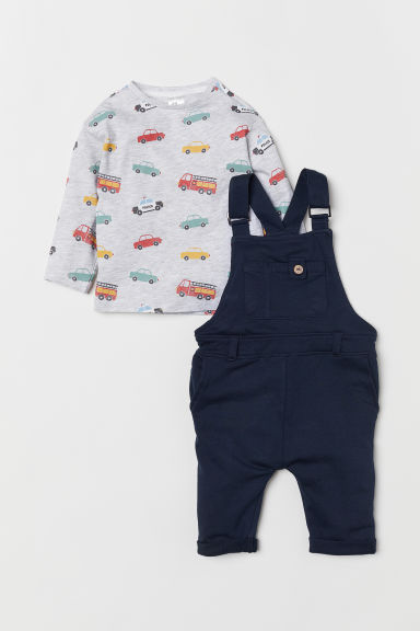 Dungarees and top - Dark blue/Cars - Kids | H&M