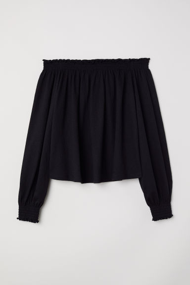 H&M+ Off-the-shoulder blouse - Black - Ladies | H&M