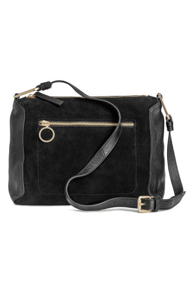 Suede and leather shoulder bag - Black -  | H&M
