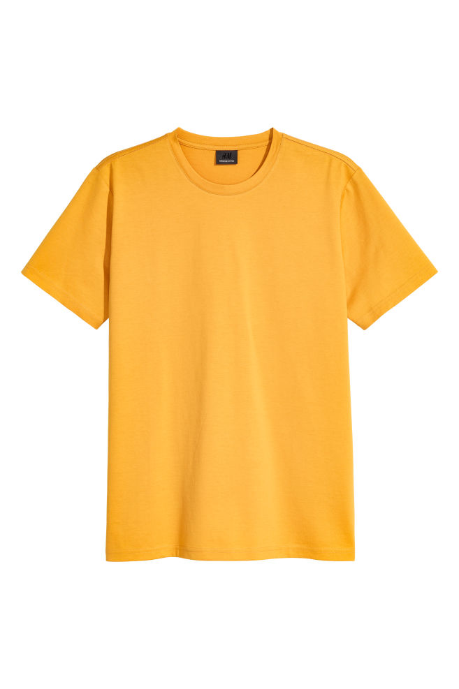 82ac49fa Premium Cotton T-shirt - Mustard yellow - Men | H&M ...