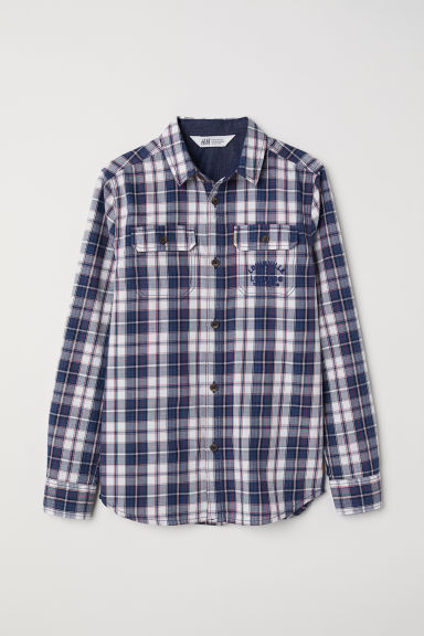Twill shirt with a motif - Dark blue/White checked - Kids | H&M