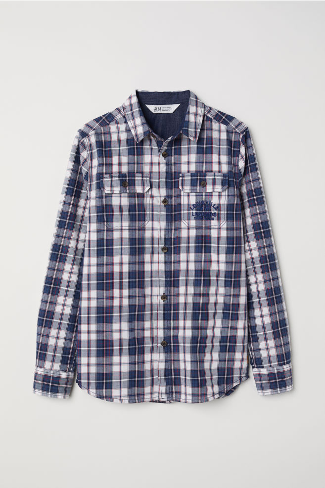 8b7b467822d2f Twill shirt with a motif - Dark blue/White checked - Kids | H&M IN