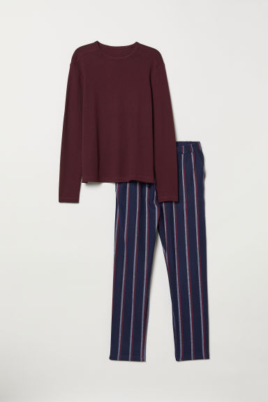 Pyjamas - Burgundy/Striped - Men | H&M