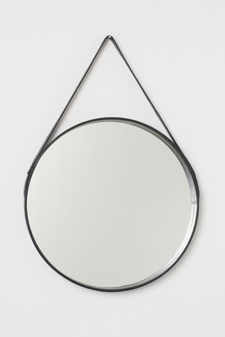 Leather-framed Round Mirror - Black -  | H&M CA