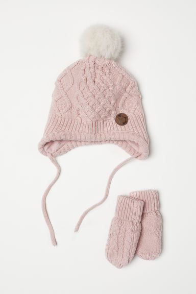 Hat and mittens - Powder pink - Kids | H&M CN