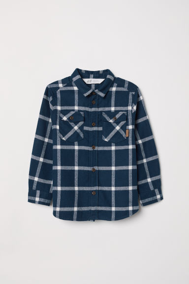 Flannel shirt - Dark blue/Checked - Kids | H&M
