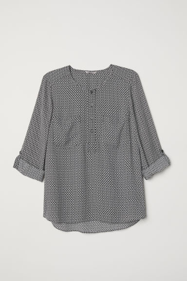 H&M+ Patterned blouse - Black/White patterned - Ladies | H&M CN