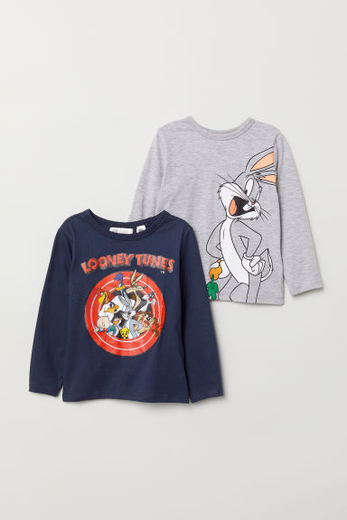 2-pack jersey tops - Grey marl/Looney Tunes - Kids | H&M