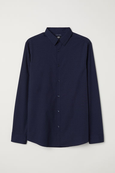 Easy-iron shirt Slim fit - Dark blue/Patterned - Men | H&M