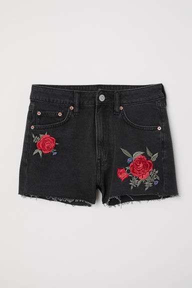 Denim shorts - Black washed out/Roses - Ladies | H&M CN