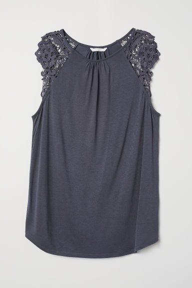Jersey top with lace - Dark grey-blue - Ladies | H&M